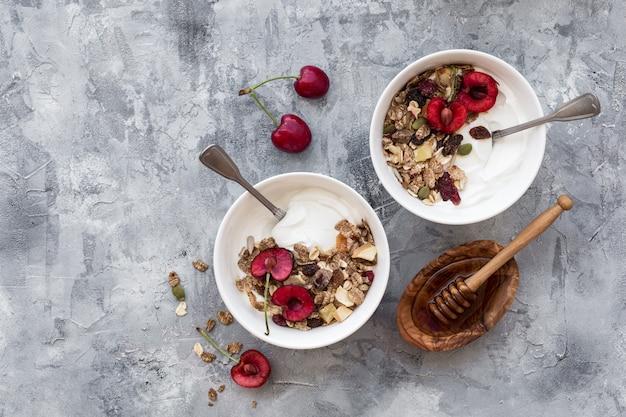 Twee kommen met yoghurt en fruit