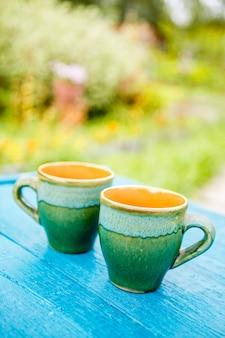 Twee kop theeën op tafel