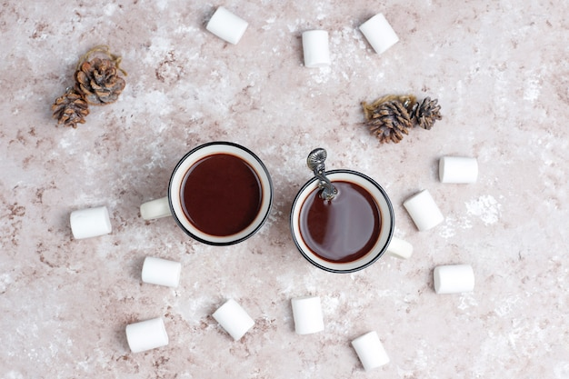 Twee kop warme chocolademelk met marshmallow