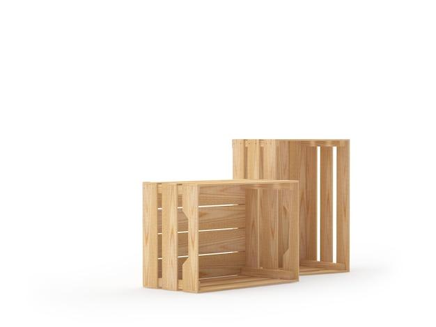 Twee lege houten kisten