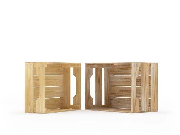 Twee lege houten kratten