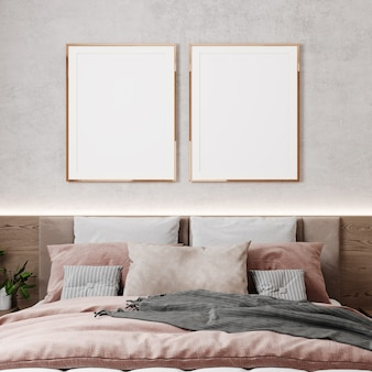 Twee lege poster frame mockup in beige slaapkamer interieur, 3d render