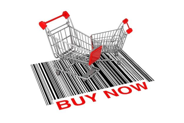 Twee lege winkelwagentjes over abstracte streepjescode met nu kopen teken op een witte achtergrond. 3d-rendering