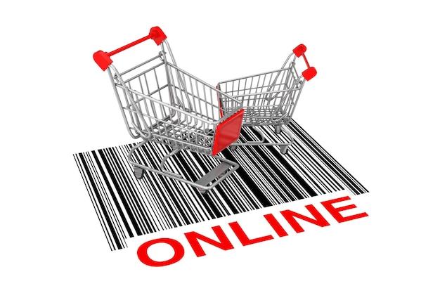 Twee lege winkelwagentjes over abstracte streepjescode met online teken op een witte achtergrond. 3d-rendering