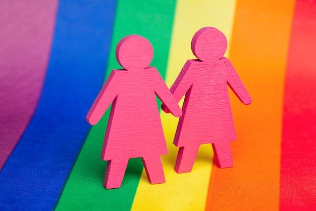 Twee lesbische meisjes hand in hand. lgbt-achtergrondregenboogvlag.