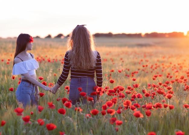Twee lesbische vrouwen schudden handen bij zonsondergang, op een papavergebied