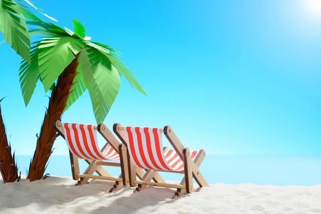 Twee ligstoelen onder een palmboom aan de zandkust met kopieerruimte
