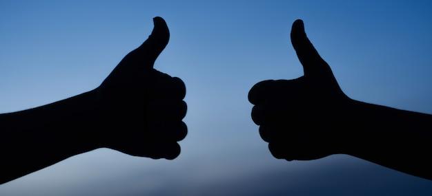 Twee mannelijke handen die duimen tonen ondertekenen omhoog. mee eens. aanvaarden. als gebaar silhouet. succes.