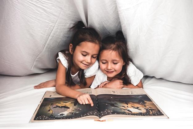 Twee meisjes die onder deken lezen