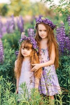 Twee meisjes met bloemen in hun haar tussen de bloemen. zonnige zomer foto van twee zussen