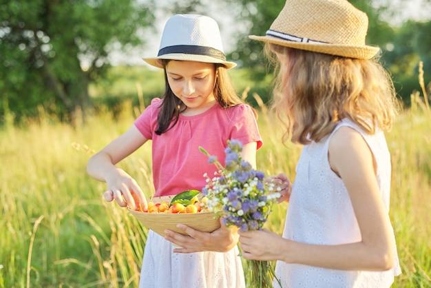 Twee meisjes op zonnige zomerdag in weiland met kom met zoete vruchten