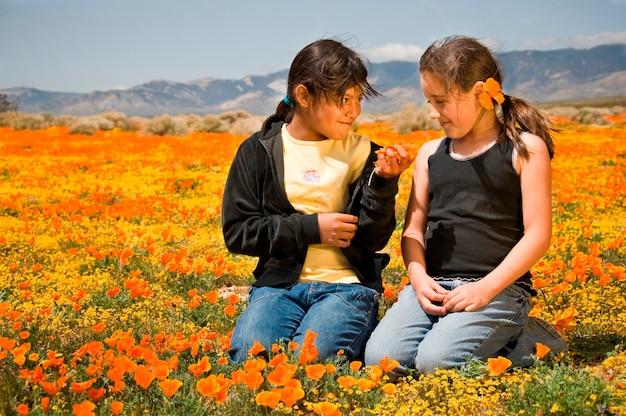 Twee meisjes zitten in poppy field