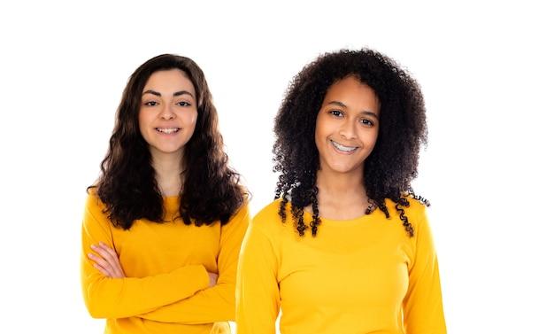 Twee mooie jonge girs met kleurrijke truien die op een wit worden geïsoleerd