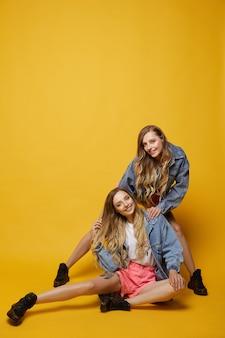 Twee mooie jonge tweeling vrouwen met slanke perfecte lichamen in denim jassen en roze korte broek, poseren