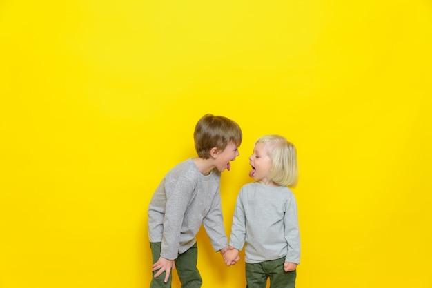 Twee mooie jongens laten elkaar tongen zien en hebben plezier