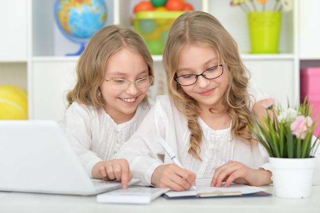 Twee mooie kleine meisjes in de klas met laptop