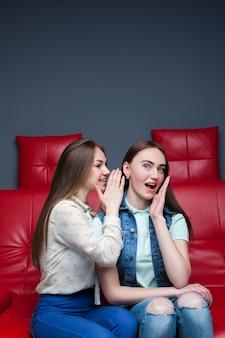 Twee mooie meisjes die op rode leerlaag roddelen