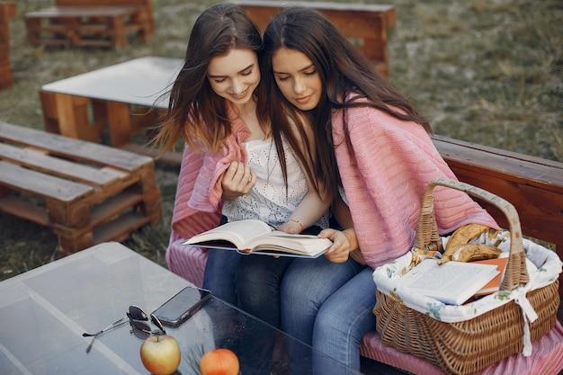 Twee mooie meisjes in een zomer park