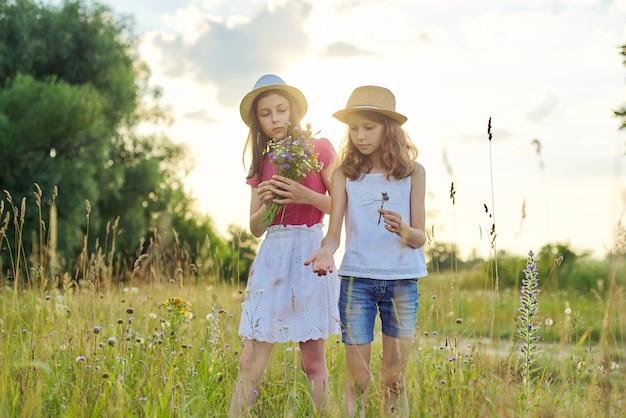 Twee mooie mooie meisjes kinderen scheuren wilde bloemen wandelen in zonnige weide, pittoresk landschap, gouden uur. jeugd, zomer, natuur, schoonheid, kinderconcept