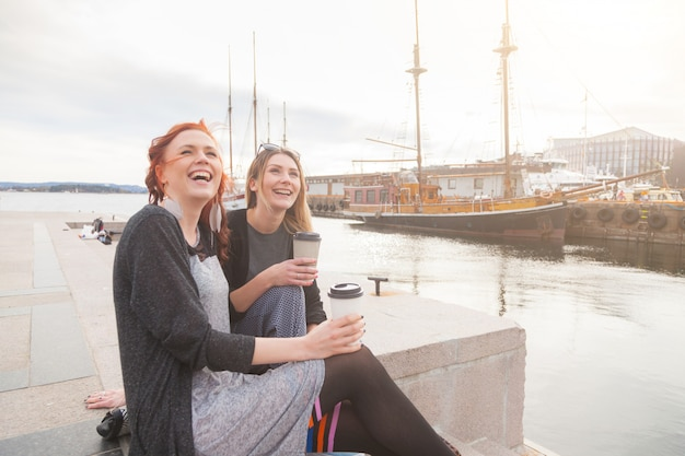 Twee mooie noordse meisjes die van het leven genieten in de haven van oslo
