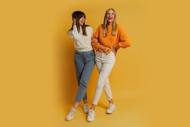 Twee mooie vrouwen, beste vrienden in stijlvolle herfstvrijetijdskleding die plezier hebben op geel. volledige lengte.