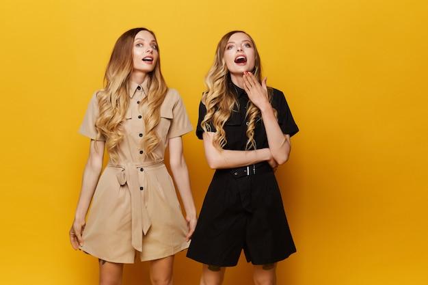Twee mooie zusters in donkere en lichte jumsuits poseren