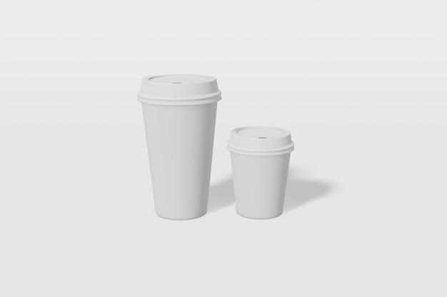 Twee papieren bekers van verschillende grootte met een deksel op een witte achtergrond 3d-rendering