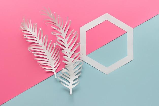 Twee papieren veren en zeshoek op roze blauw