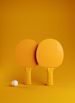 Twee pingpong of pingpongrackets en van het de afficheontwerp van ballentoernooien 3d illustratie renderig