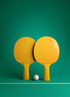 Twee pingpong of pingpongrackets en van het de afficheontwerp van baltoernooien het 3d illustratie teruggeven