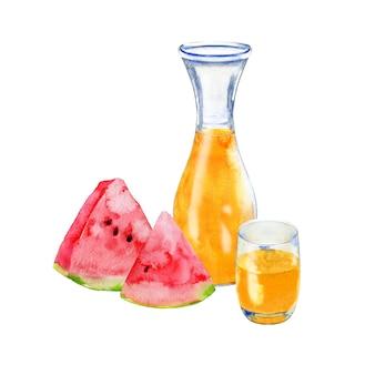 Twee plakjes watermeloen en een pot sinaasappelsap