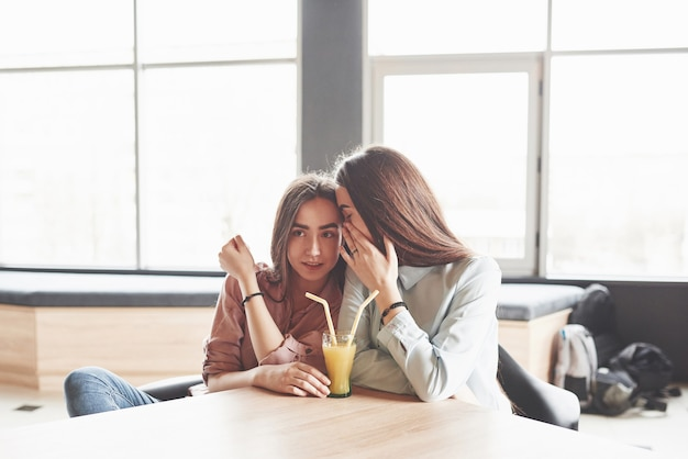 Twee prachtige tweelingmeisjes brengen tijd door met het drinken van sap.