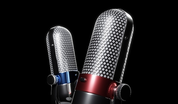 Twee retro rood, blauw en zilver kleur chroom met knop ontwerp microfoon geïsoleerd op een witte achtergrond