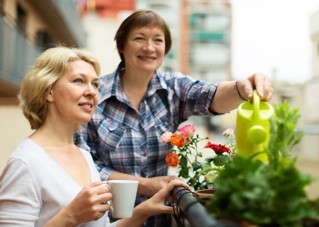 Twee rijpe vrouwen die thee drinken bij terras