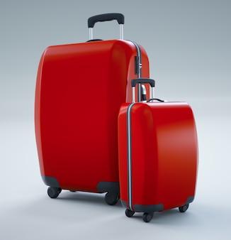 Twee rode reistassen die op helder wit worden geïsoleerd. 3d-weergave
