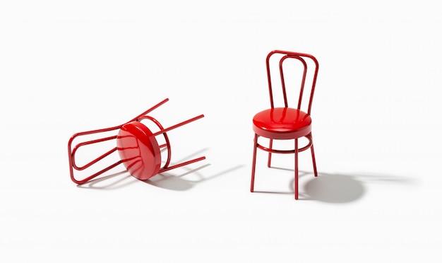 Twee rode stoelen in de witte kamer