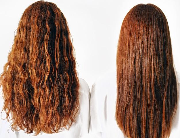 Twee roodharige zussen staan geïsoleerd op een witte achtergrond in ruime oversized shirts. close-up van rood haar. een meisje heeft steil haar en de tweede krullende krullen.