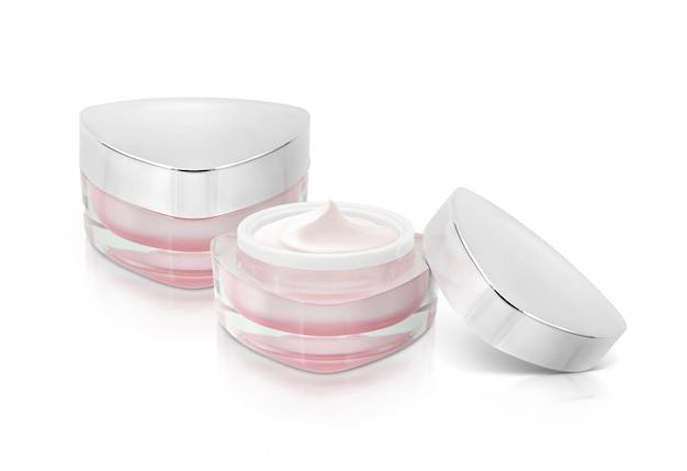 Twee roze driehoek cosmetische potten