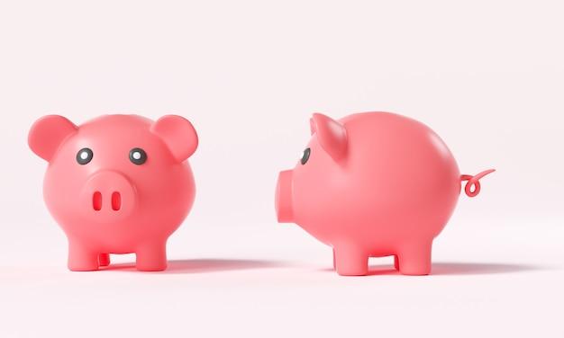 Twee roze spaarvarken vooraanzicht en zijaanzicht op roze achtergrond, geldbesparend concept. 3d render illustratie