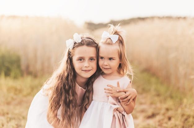 Twee schattige kleine meisjes in jurken knuffelen in de natuur in de zomer