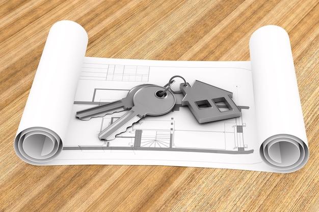 Twee sleutels en trinket huis op houten oppervlak. 3d-afbeelding