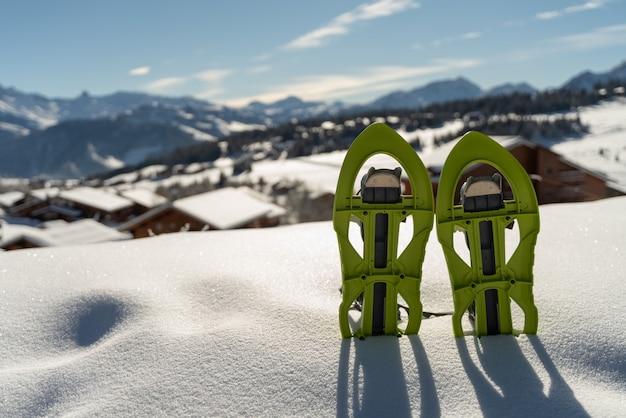 Twee sneeuwschoenen begraven in de sneeuw met de besneeuwde bergen