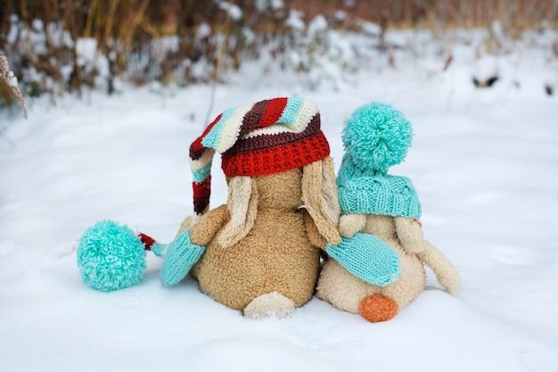 Twee speelgoedkonijnen met hoeden en sjaals zitten in de sneeuw