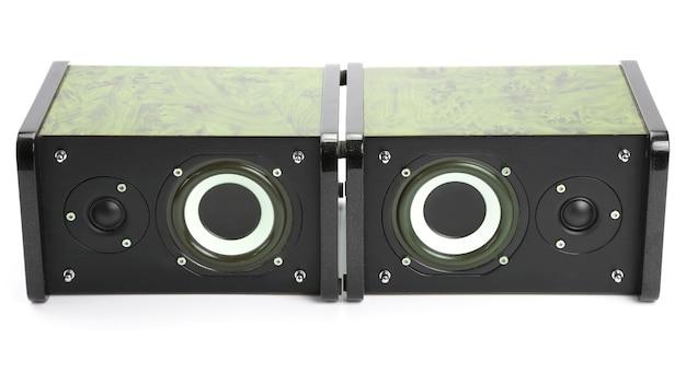 Twee stereo luidsprekers op witte achtergrond. onderwerpen van elektronisch systeem