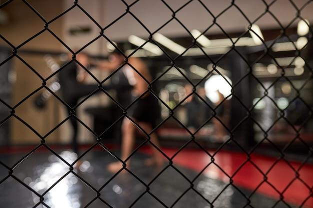 Twee sterke mannen boksers boksen, thai boksen oefenen in silhouet, mma. kijk door kooi, in ring bij sportschool. zijaanzicht. focus op kooi, close-up Premium Foto