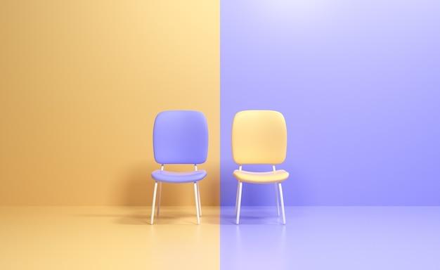 Twee stoelen met verschillende kleuren. zakelijke concurrentie. ken uw concurrentconcept, zakelijk leiderschap. 3d render illustraiton