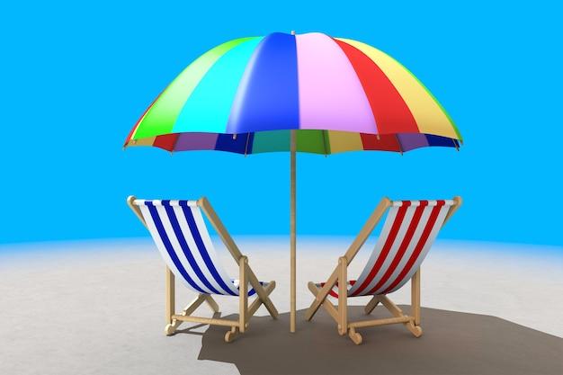 Twee strandstoelen onder zonnescherm op een blauwe achtergrond