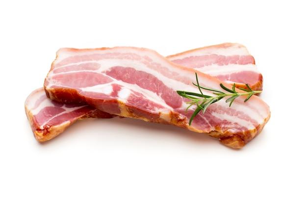 Twee stukken van rauw geïsoleerd varkensvlees reuzel, close-up.
