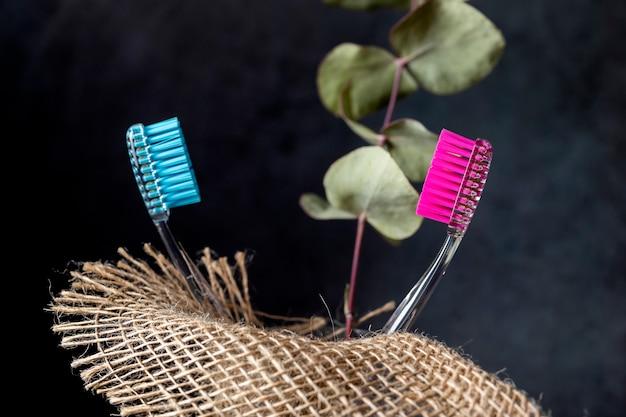 Twee tandenborstels in een glas met jute en een tak van eucalyptus.