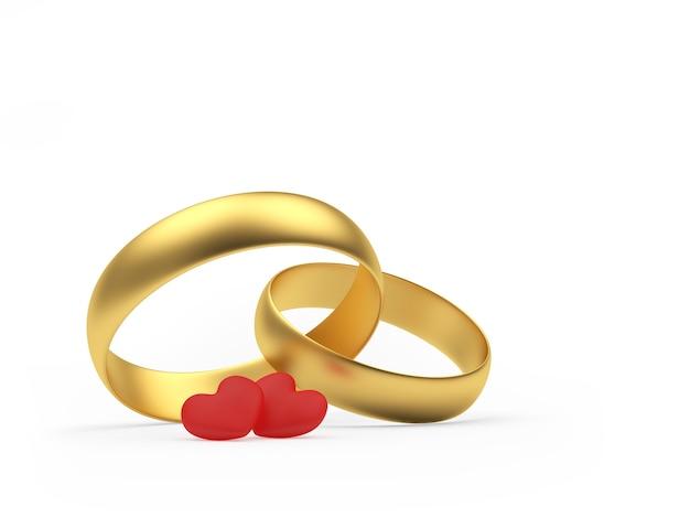 Twee trouwringen en harten
